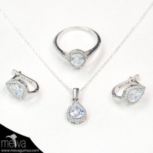 gümüş-renkli-damla-desenli-kadın-üçlü-set-1