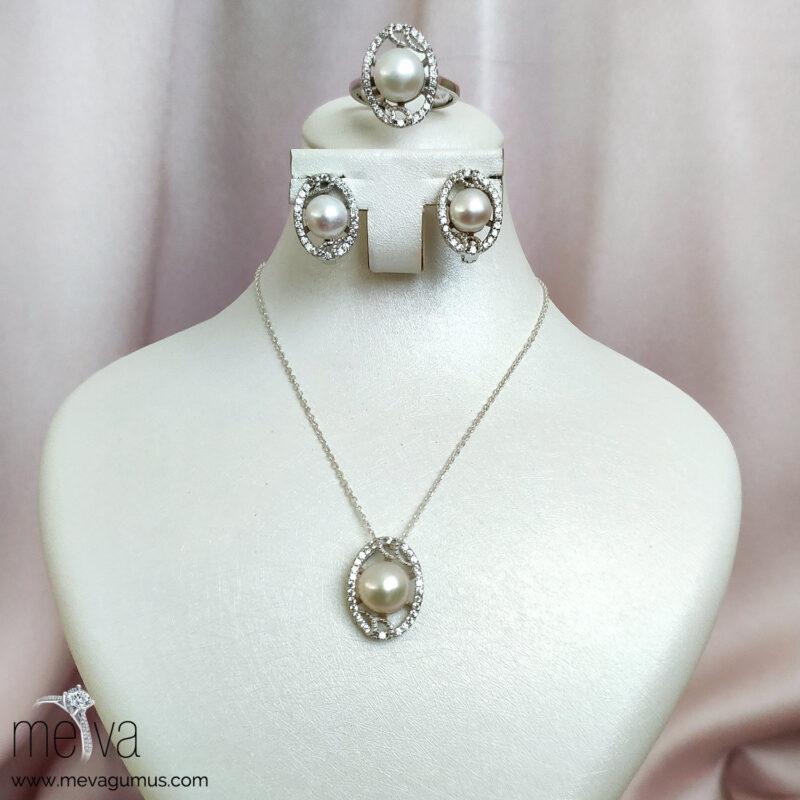 925 Ayar Lace Model Kadın Gümüş Set 1
