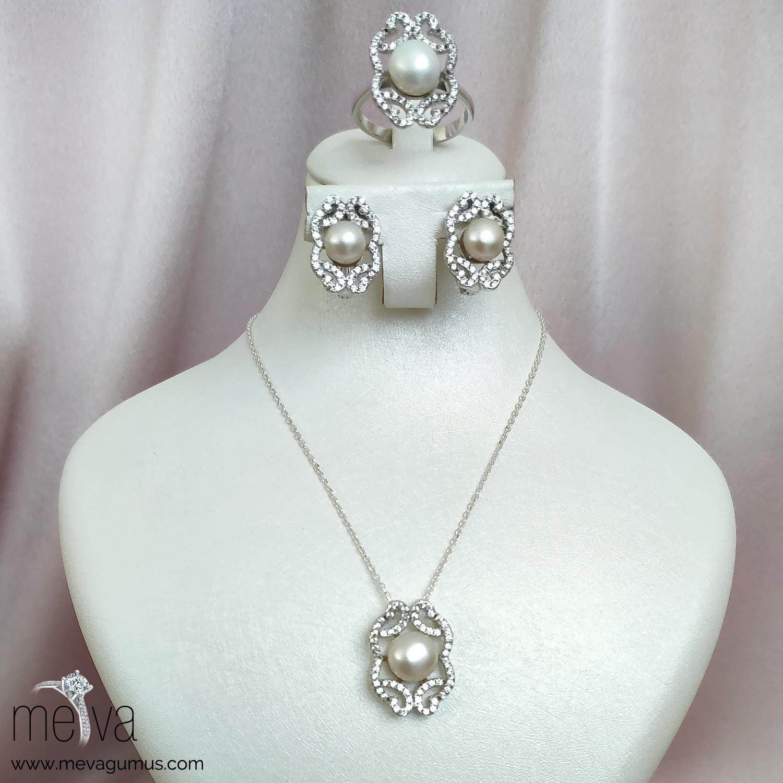 Satin Model Kadın İnci Gümüş Set 1
