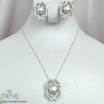 Satin Model Kadın İnci Gümüş Set 2